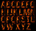 Alphabets on fire Stock Photos