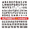 Alphabets and numbers, fonts