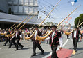 Alphorn parade Stock Images