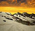 Alphubel dom and taschhorn in the sunset swiss alps Royalty Free Stock Photos