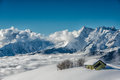 Alpin hut in the snow Royalty Free Stock Photo