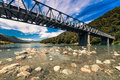 Alpine bridge in New Zealand Royalty Free Stock Photos