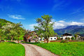 Alpine countryside scenic in spring austria Stock Photography
