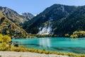 Alpine lake issyk gorge zailiyskiy alatau almaty kazakhstan Stock Photos