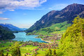 Alpine lake and mountain landscape in central Switzerland Royalty Free Stock Photo