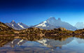 Alpine lake reflection in the French Alps Royalty Free Stock Photos
