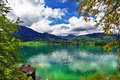 Alpine lakes crystal emerald lake st wolfgang austria Royalty Free Stock Photography