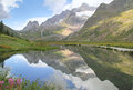 Alpine landscape reflected in lake Royalty Free Stock Image