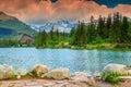 Alpine mountain lake in Vysoke Tatry,Strbske Pleso,Slovakia,Europe
