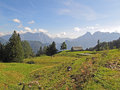 Alpine panorama scene with hut Royalty Free Stock Photos