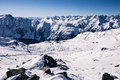 Alpine panorama showing snow covered mountains clear blue sky Royalty Free Stock Image