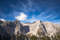 Alpine peaks photo of mountain these are mountains of the tyrollean alps in austria sky can be easily replaced or edited Stock Photography