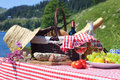 Alpine picnic in french mountains Royalty Free Stock Photography