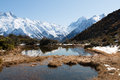 Alpine ponds Red Tarns near mt. Cook Royalty Free Stock Photo
