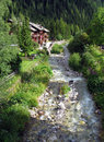 Alpine river scenery small stream descending from mountain in forest Royalty Free Stock Photos