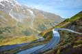 Alpine road in the Alps mountains. Hohe Tauern National park Royalty Free Stock Photo
