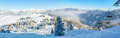 Alpine ski slope mountain winter panorama with ski lift