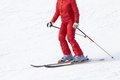 Alpine ski unrecognizable female skier on resort Royalty Free Stock Photos
