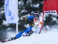 Alpine skiing world cup val gardena downhill training italy december paris dominik ita attacks a gate while competing in the audi Stock Photos