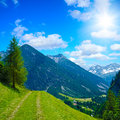 Alpine treeking path a beautiful trekking in the austrian alps Royalty Free Stock Photos