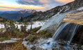 Alpine Waterfall in the Wasatch Mountains. Royalty Free Stock Photo