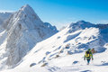Alpinist on the ridge hiking way to peak photographed in eastern pyrenees spain Stock Photography