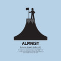 Alpinist standing with flag and pole on the top of mountain vector illustration Stock Photography