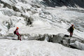 Alpinists on the glacier Royalty Free Stock Photo