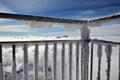 Alps from a frosty balcony Royalty Free Stock Photo