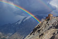 Alps high mountains rainbow Stock Photography