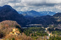 Alps and lakes in a summer day in Germany. Taken from the hill next to Neuschwanstein castle Royalty Free Stock Photo