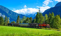 Alps mountains landscape train Royalty Free Stock Photo