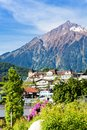 Alps and spiez village panorama in switzerland Royalty Free Stock Photography