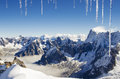 Alps view on top of the aiguille du midi Stock Images