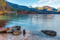 Alpsee in fall sea in hohenschwangau near munich in bavaria germany Stock Image