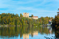 Alpsee in fall sea hohenschwangau near munich bavaria germany Stock Photos