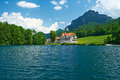 Alpsee lake at hohenschwangau near munich in bavaria germany Stock Photos