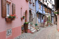 Alsace le vieux village pittoresque d eguisheim Photos libres de droits