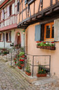 Alsace the picturesque old village of eguisheim france Stock Images