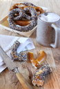 Alsatian bretzels and mug of beer traditional pastry assortment Royalty Free Stock Photography