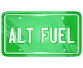 Alt fuel alternative power energy green license plate illustrating or sources for cars trucks and automobiles in a movement to Stock Image