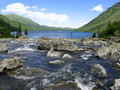 Altai Mountains. River Shumy and lake Multinskoye Royalty Free Stock Image