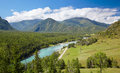 Altai river katun amazing mountain landscape with Royalty Free Stock Photo