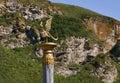 Altai symbol on pillar siberia with mountain background mountains Stock Photo