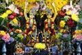 Altar deity hare krishna of gauranga and nityananda of chaitanya mahaprabhu and niniananda prabhu in movememt established by srila Royalty Free Stock Photography