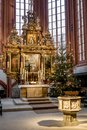 Altar and font town church Bayreuth Royalty Free Stock Photo