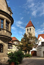 Alte kapelle regensburg bavaria germany exterior of and houses in eastern on sunny day Stock Photography