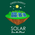 Alternative energy power, solar electricity panel field on a green grass ecology concept, technology of renewable sun