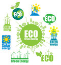 Alternative energy set of icons on the theme of environmental protection and Royalty Free Stock Photos