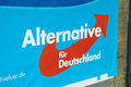 Alternative für deutschland tight crop of a poster of the new german party and one of the big winners of the european elections Stock Photography